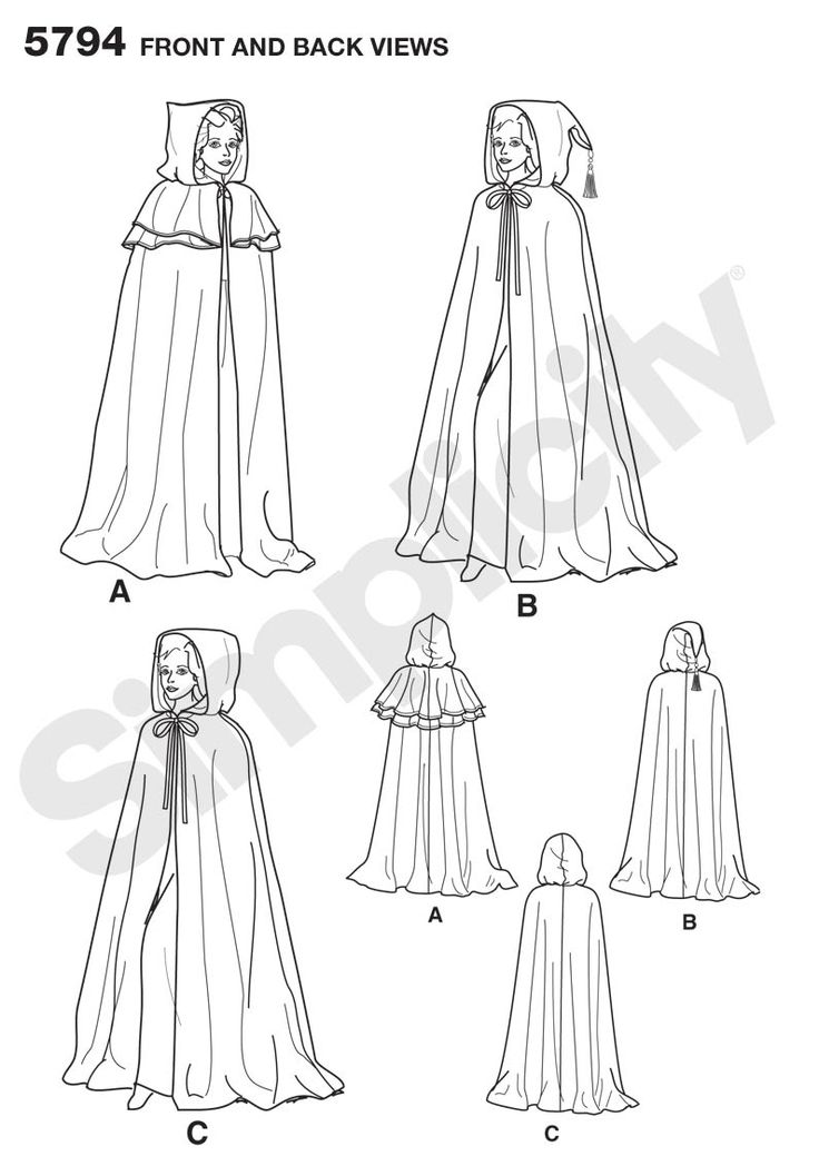 Simplicity 5794 simple cape with three types of hoods and