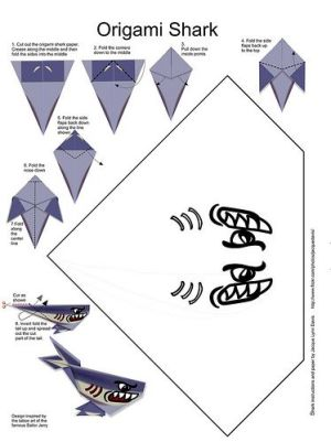 Printable Origami Shark With Pattern And 7 Steps To Assemble Schematic | free schematics
