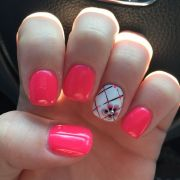 neon pink easy spring nail design