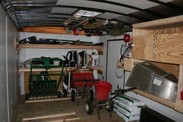 landscape enclosed trailer organization