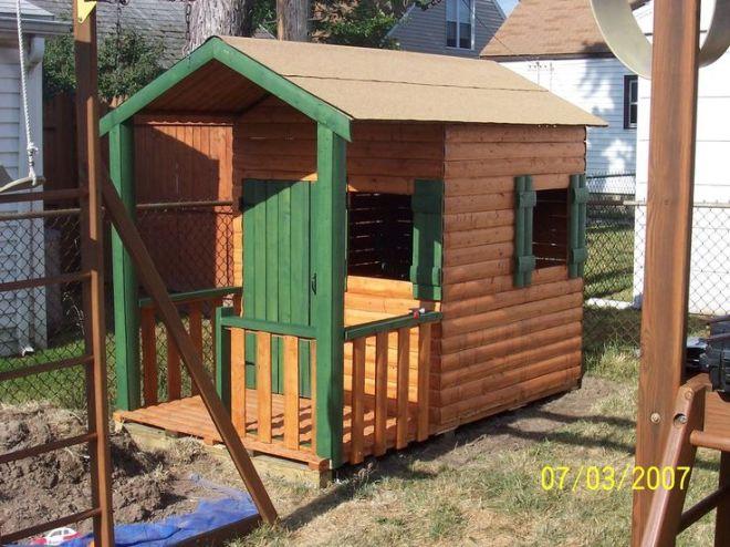 Build a log cabin playhouse for under 300 diy playhouse