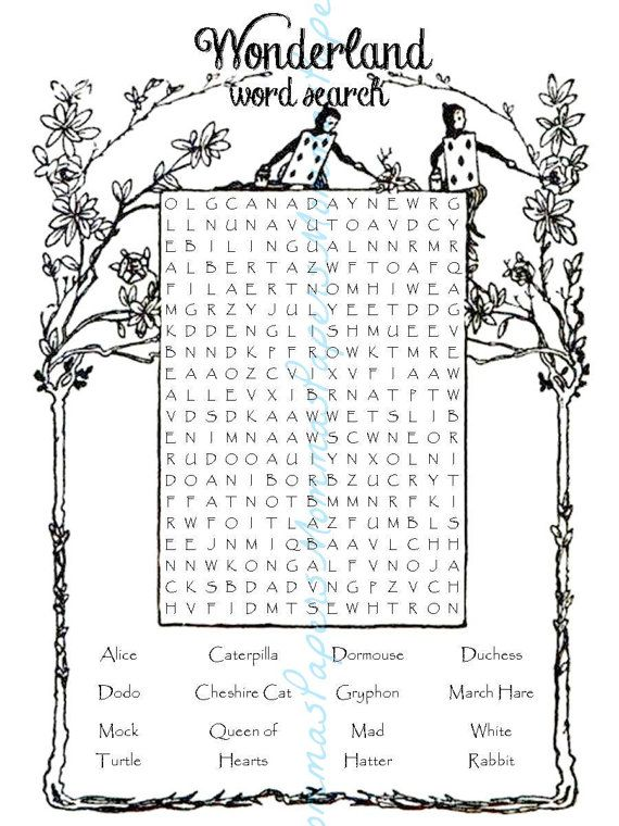 Word Search Digital Download Alice In Wonderland by