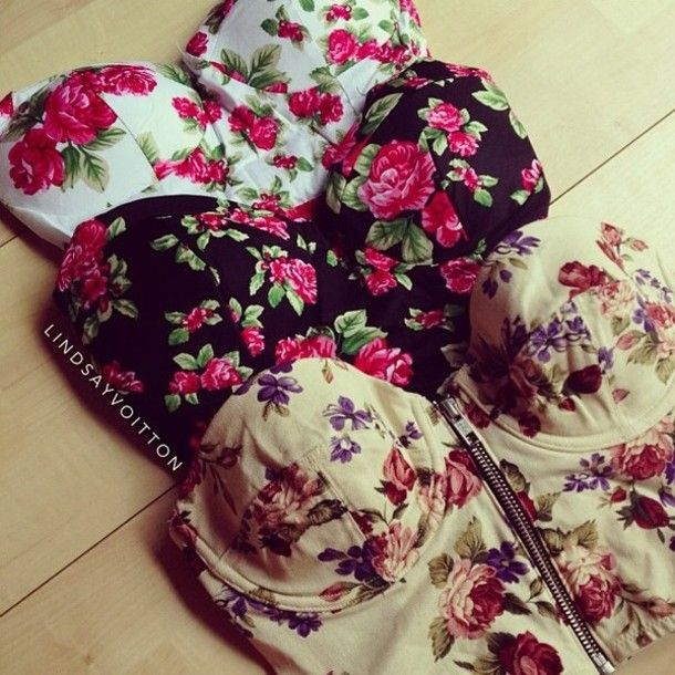 Bustier Hipster Outfits for Girls | shirt bustier bralet bralette floral vintage cute girly hipster summer