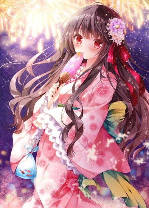 Lnh Bng Tiu Th  Nhng anime girl kimono cute nht