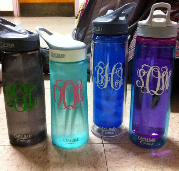 2.75 inch Monogrammed Personalized Vinyl Decal perfect for camelbak water bottle on Etsy, $4.29