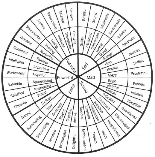 Feelings wheel for expanding emotional vocabulary
