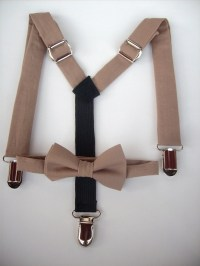 bow tie and suspenders for toddler boy - solid brown taupe ...
