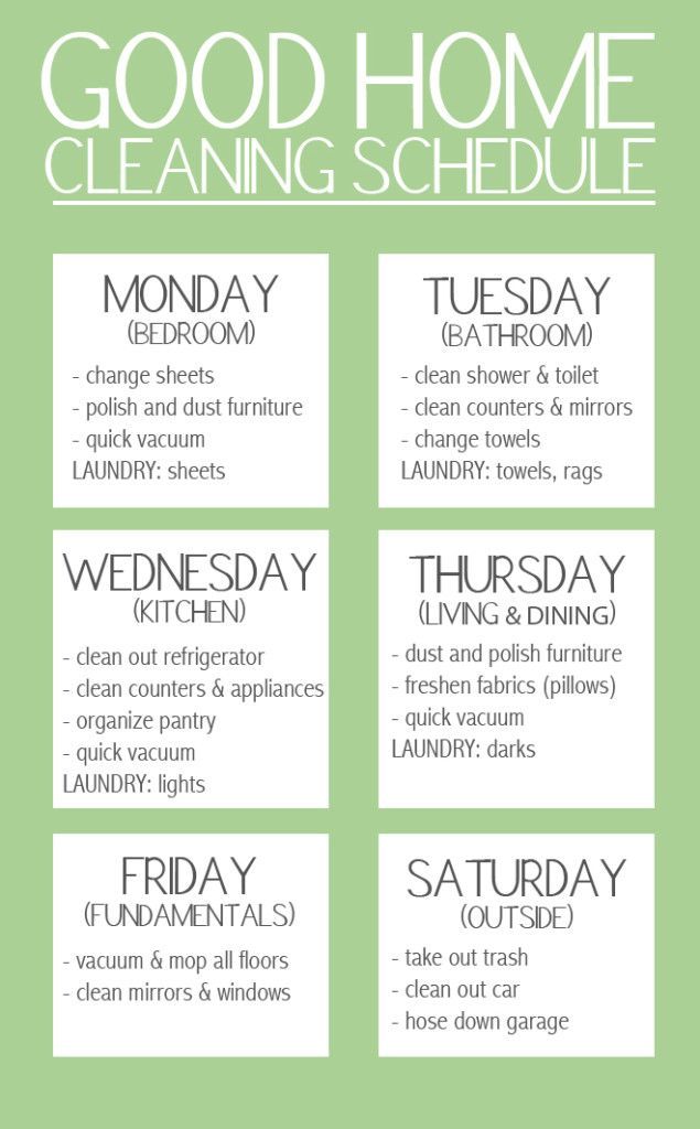 Good Home Cleaning Schedule.