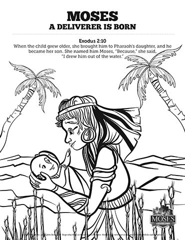 Exodus 2 Baby Moses Sunday School Coloring Pages: Get