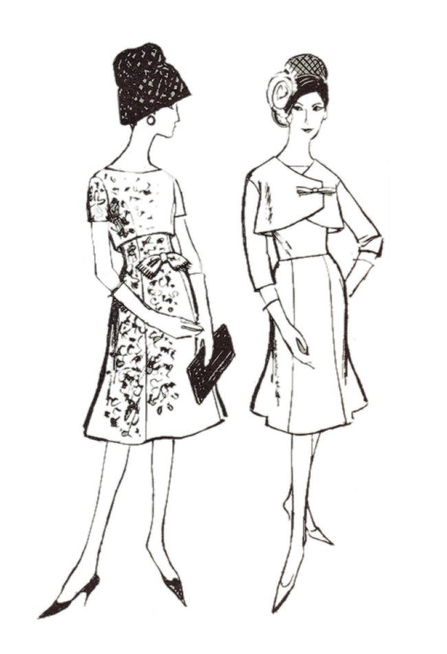 1962 Princess skirts on dresses and Empire line cover up