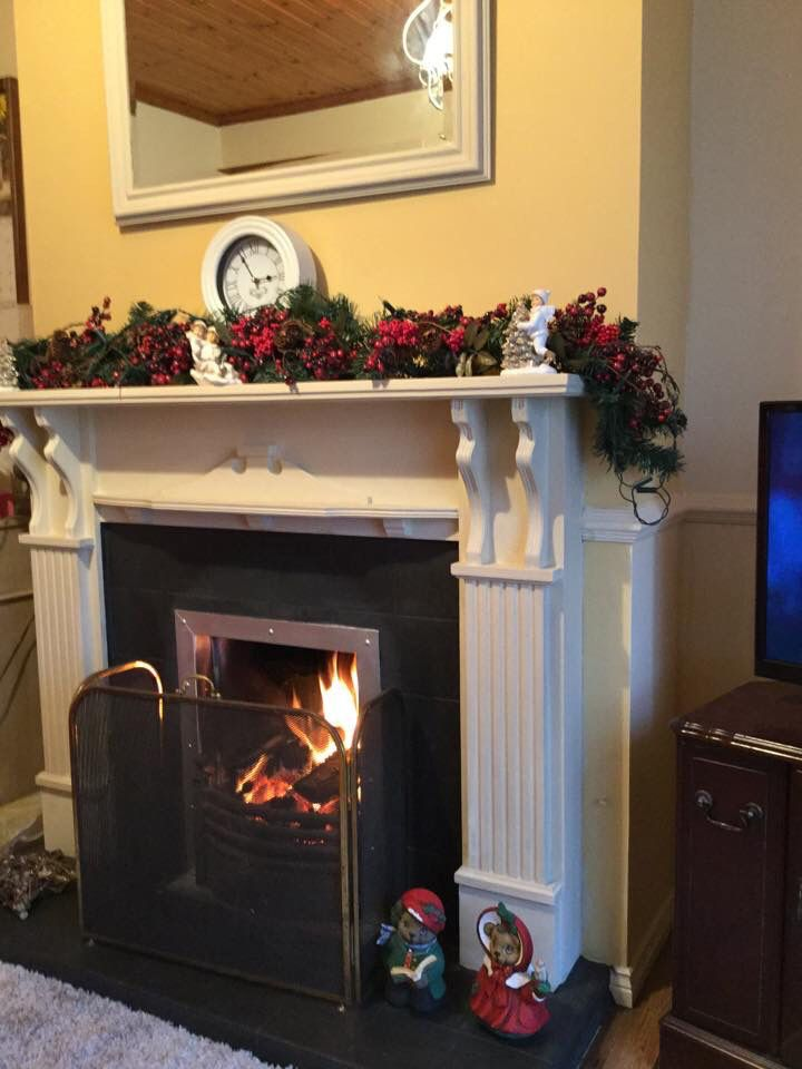 I painted my Mum  Dads Mahogany Fireplace with Annie Sloan Chalk paint Old Ochre on the