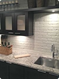 painted brick backsplash, possible faux brick panels ...
