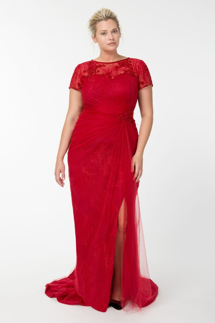 Red Plus size Evening Dress  Short Sleeve Formal Gown in