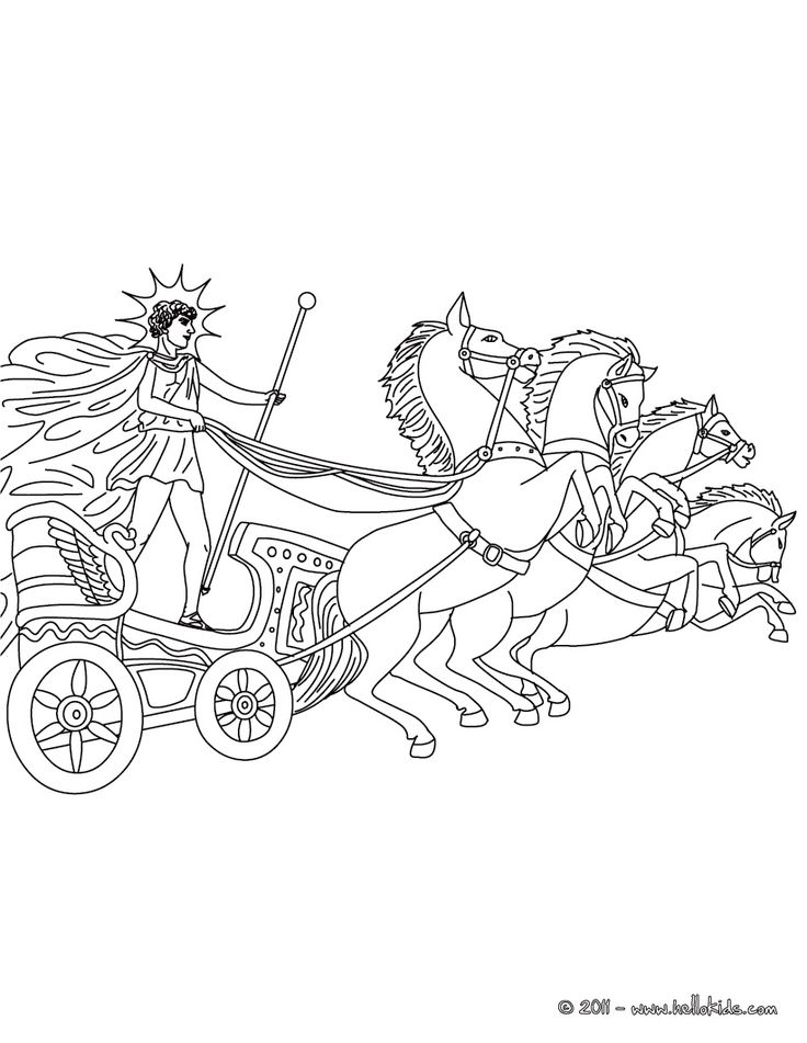 HELIOS the greek titan god of the sun coloring page