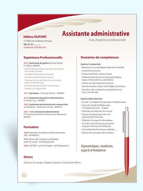 modele cv assistante administrative sans photos gratuit