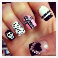 Nails acrylics cross heart skull nail design | Nails ...