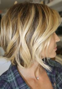 Brown short hair with blonde highlights | Ompre hair color ...