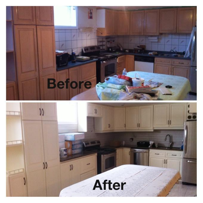 Repainted kitchen cabinets in Benjamin Moore Vanilla Ice Cream  DIY  Pinterest  Vanilla