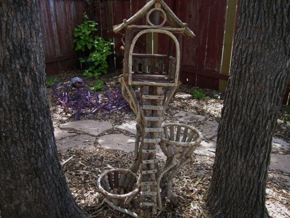 Handmade Rustic Bird FeederPlant Stand  Bird feeders