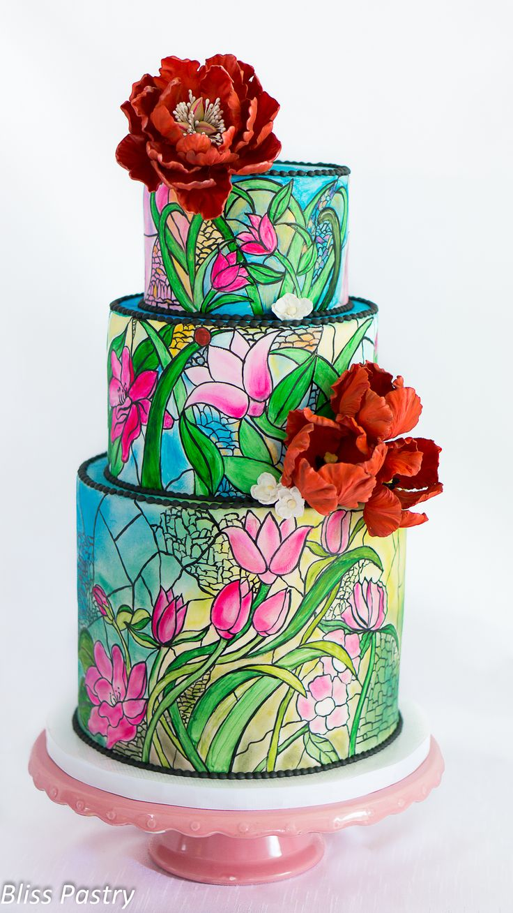 17 Best images about Stained Glass Cakes on Pinterest  Dragonfly cake Stained glass cookies