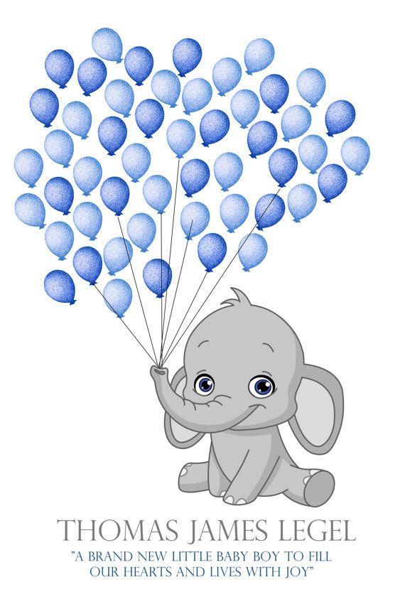 elephant baby shower fingerprint