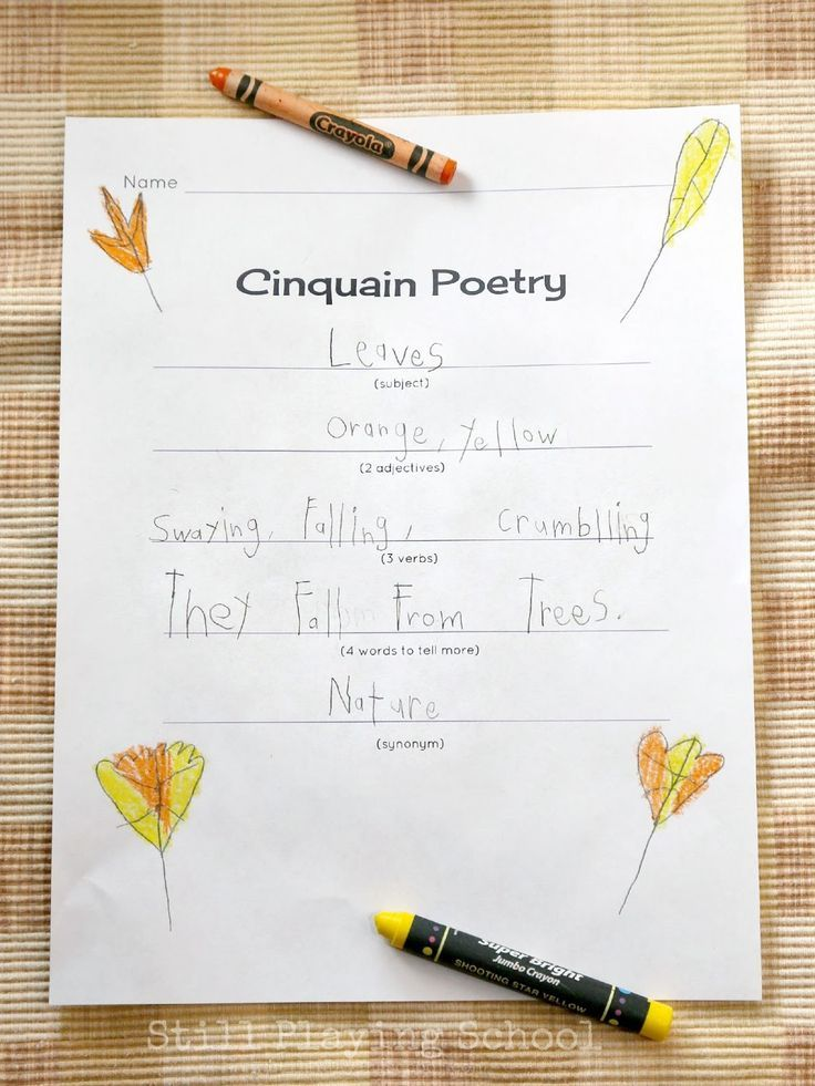 Cinquain poetry for kids homeschool writing prompts and