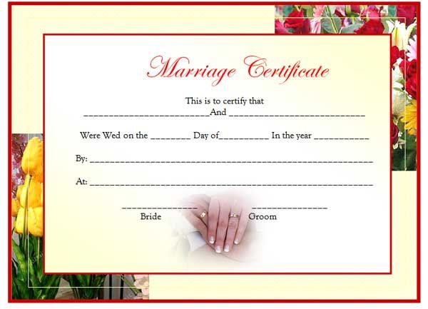 Marriage Certificate Template Is Hereby Offered Just To