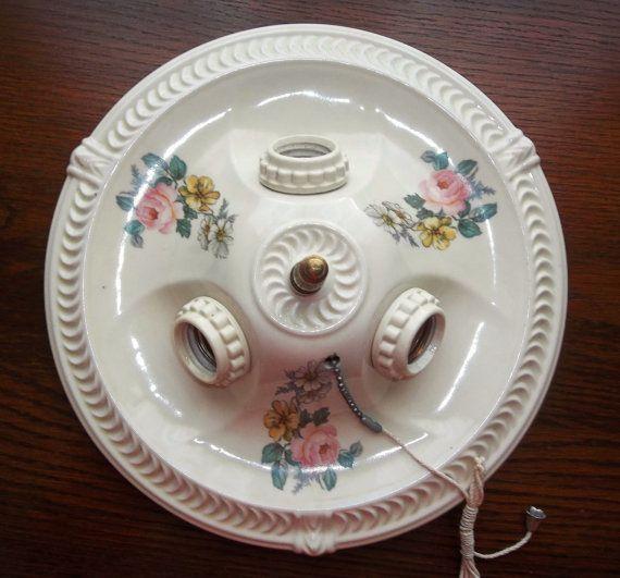 30s Porcelier Porcelain Ceiling Light Fixture by