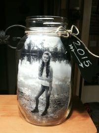 Mason jar centerpiece for graduation! I put 2 pictures in ...