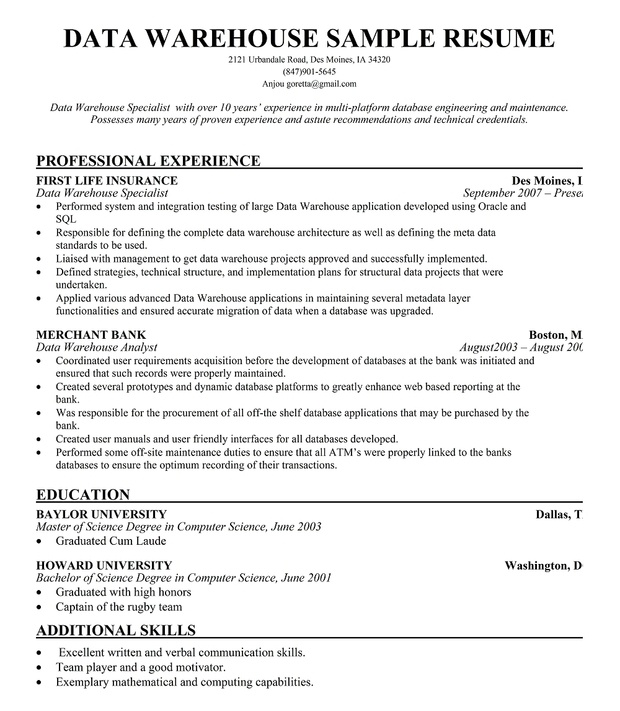 Data #Warehouse Manager Resume For Free Resumecompanion
