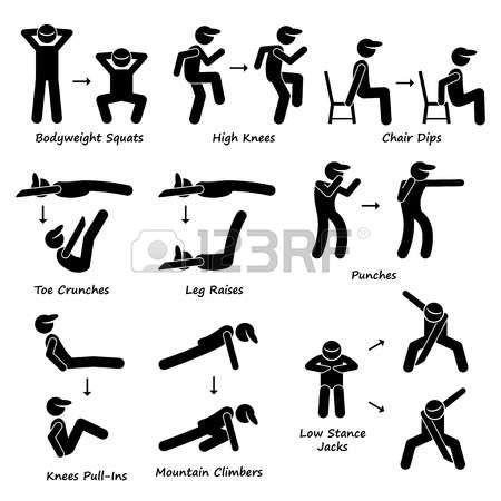 Body Workout Exercise Fitness Training Set 2 Stick Figure