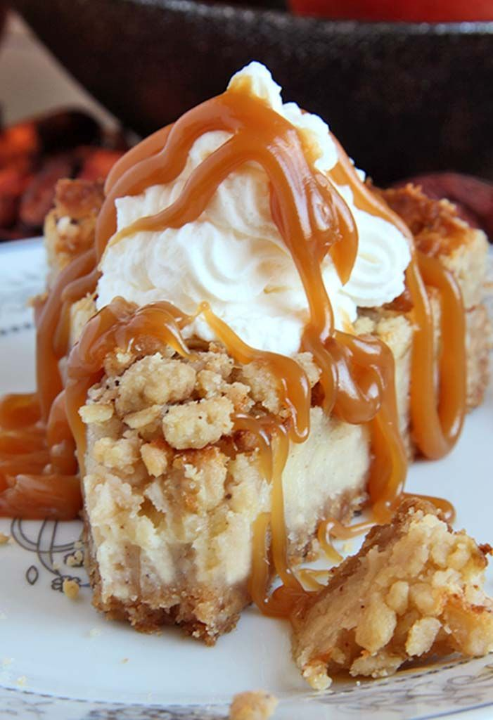 All of the sweet and caramely goodness of a traditional apple crisp, baked on graham cracker crust cheesecake and topped with a