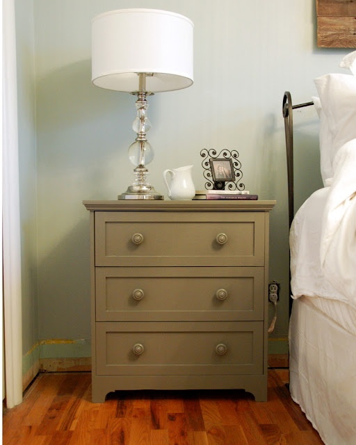 This is a 35 small dresser from Ikea that a woman painted and used as a night stand I LOVE