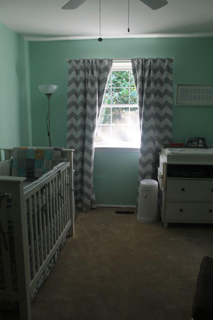 mint green grey chevron mustache nursery  MJ  Pinterest  Green Mint green and Nursery curtains