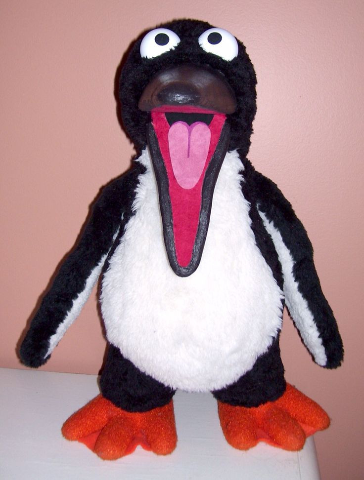 A penguin puppet that was built by Terry Angus