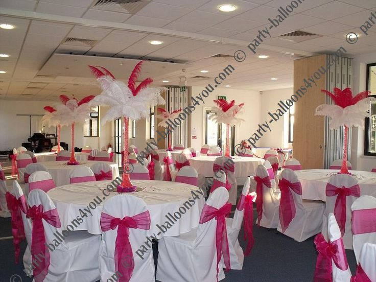 chair cover hire and setup rental companies fuschia wedding reception table decorations | hot pink & white ostrich feather ...