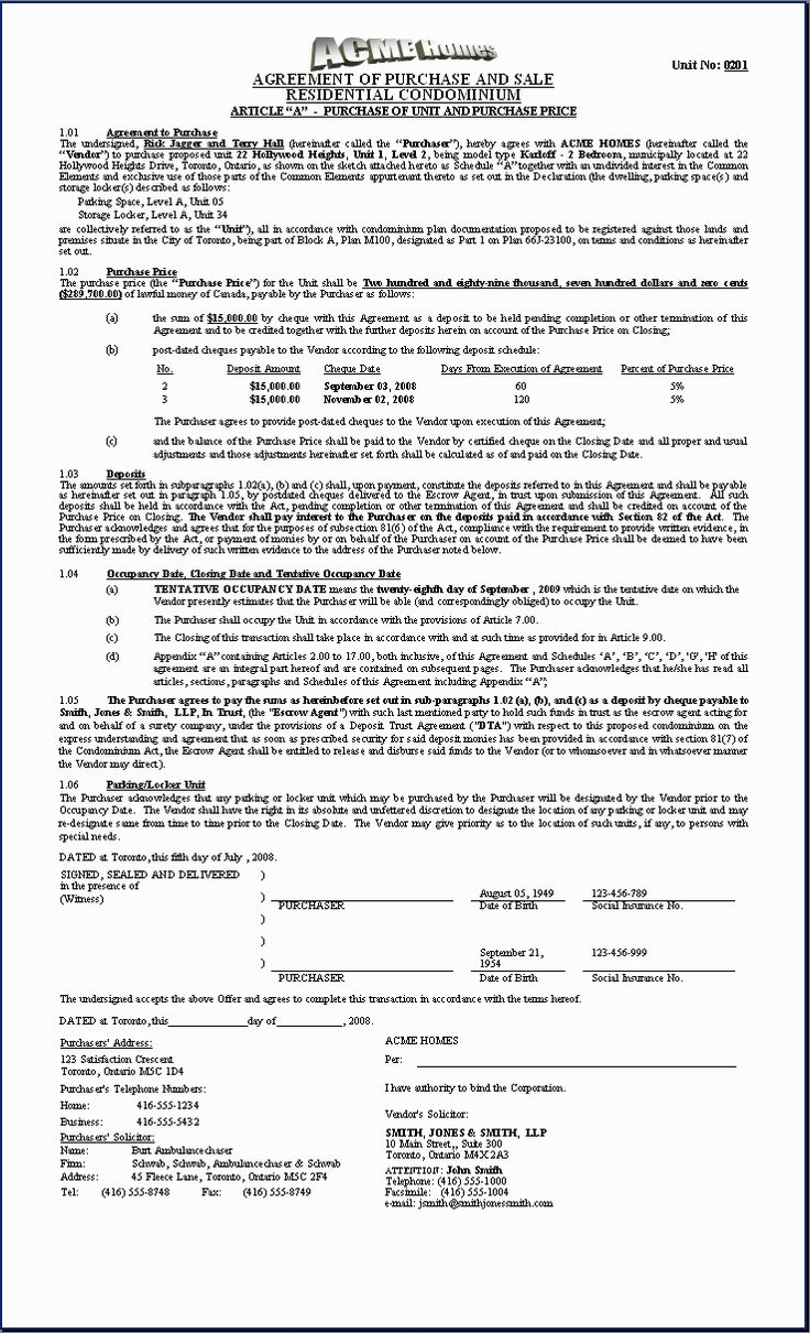 HOMES Sample Document Purchase Agreement Condo  First Page  purchase contract template