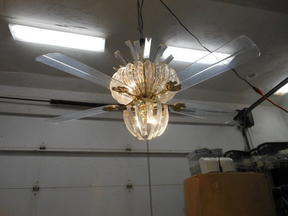 Really cool vintage ceiling fan Lucite Chandelier with
