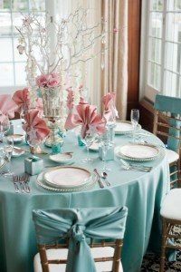 Soft blue & dusty rose table decorations. | Branch Wedding ...