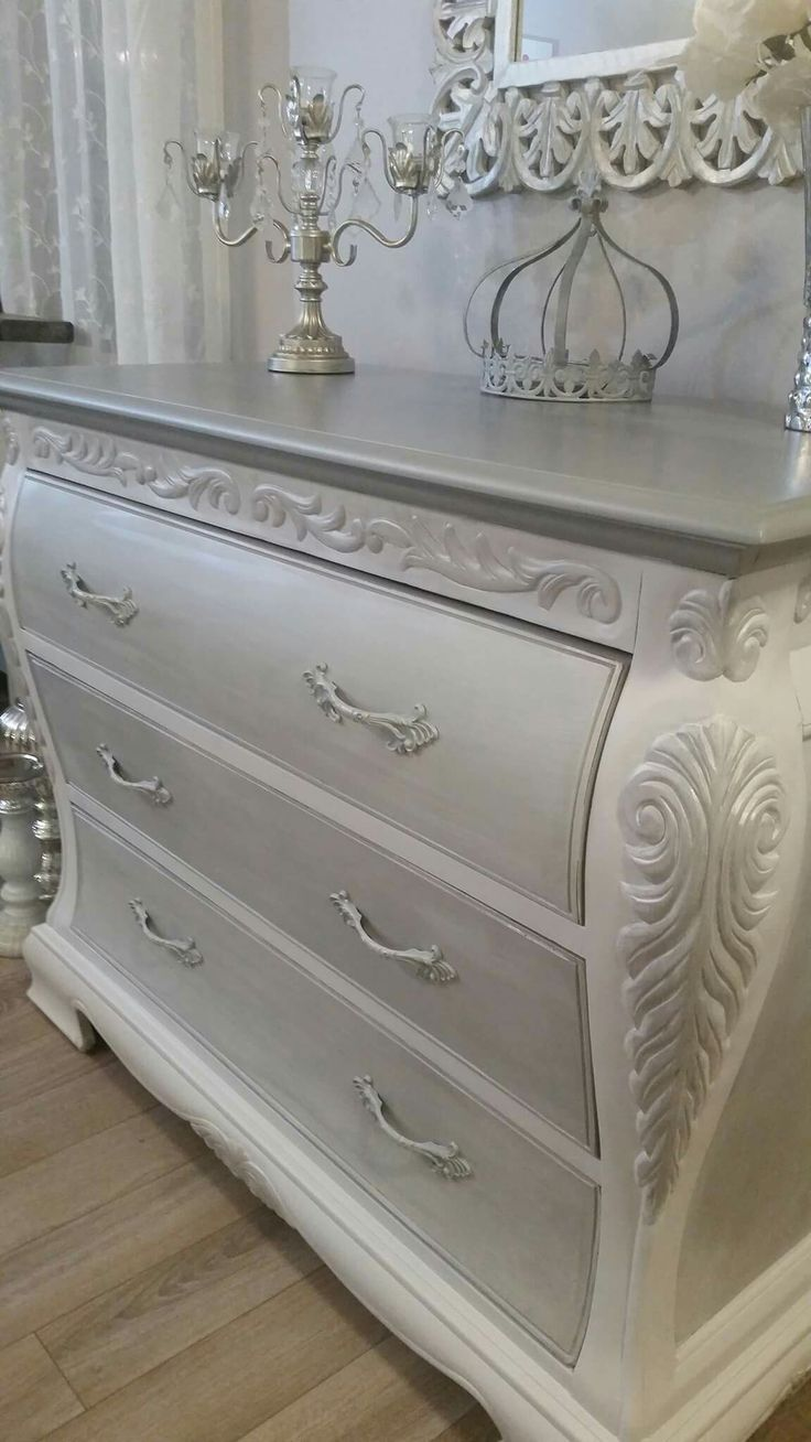 Elegantly refinished Bombay dresser Finished in all my favorite colors Gray white silver