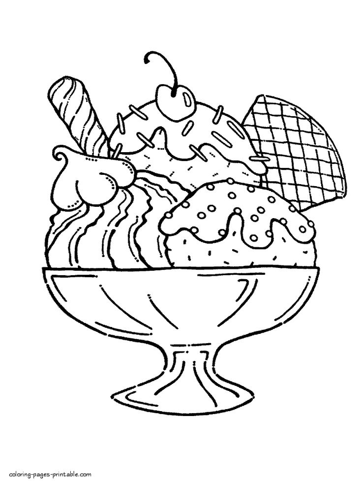 Giant Ice Cream Sundae Pages Coloring Pages