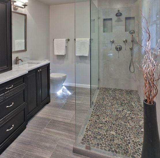 Pebble shower floor in small frameless showers  cabin