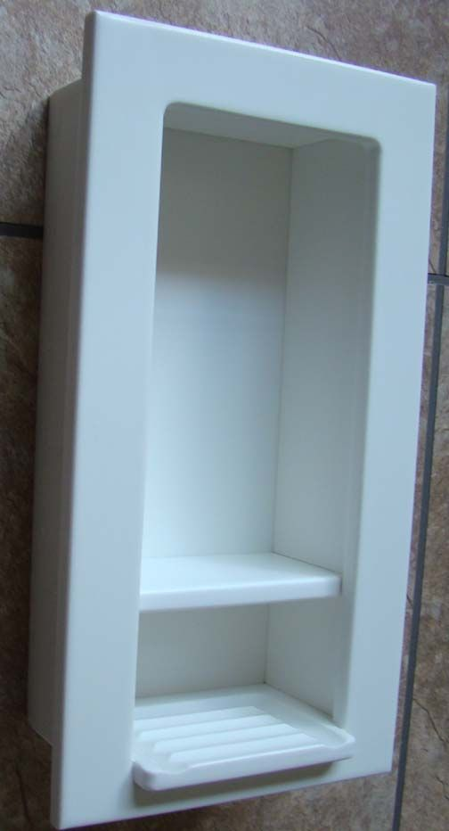 Cleanlined white recessed soapshampoo caddy OK if it