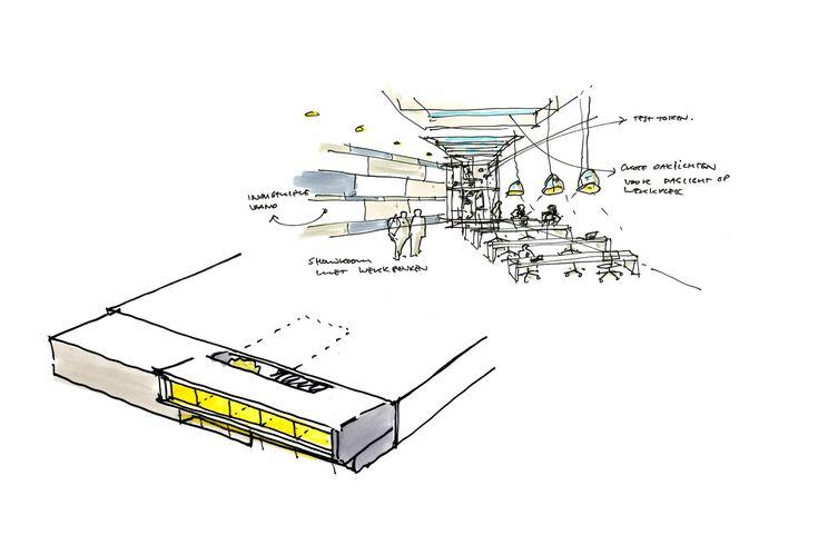 concept sketch transformation office building interior