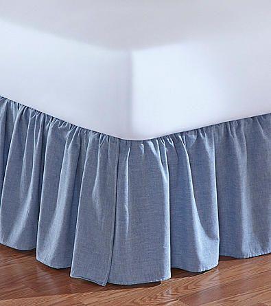 Jessica Simpson Ruched Chambray Denim Bed Skirt Elder