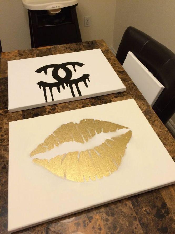 Makeupbyxtinaa Diy Room Inspiration Chanel Gold Lips Canvas Tutorial