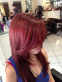 Redken hair color - flaming red glossy shine. Sweeping ...