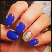 royal blue and gold nails prom