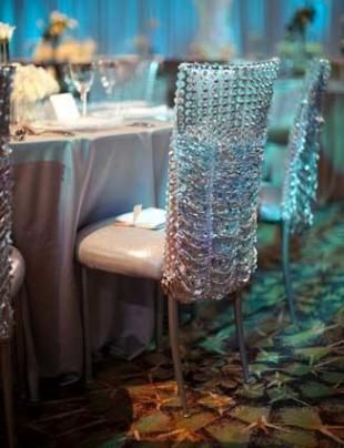 Crystal and rhinestone chair covers  Event Decor