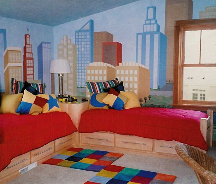 Twin Boys BedRoom  Kids rooms  Pinterest  City scapes